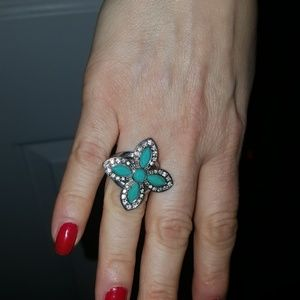 Guess Turquoise and Crystal Ring